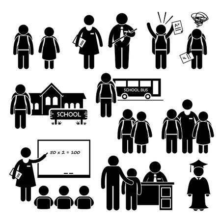 školní děti: Student učitel Ředitel školy Děti Stick Figure Piktogram Ikona Klipart Ilustrace