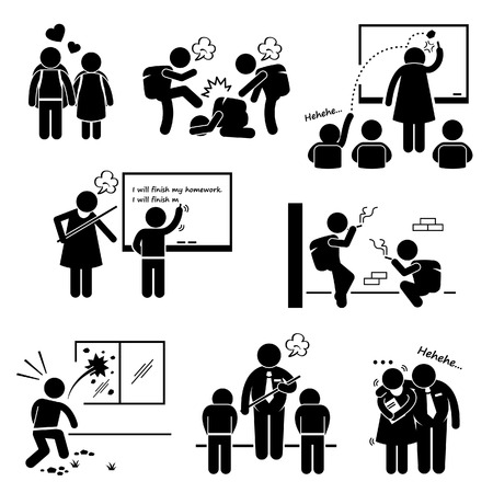 educacion sexual: Educaci�n Escolar Problema Social, Maestros y Estudiantes Stick Figure Pictograma Icono Clipart