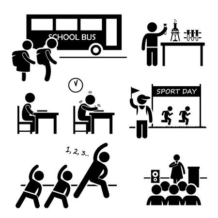 physical exam: Evento Scuola di attivit� per studenti Stick Figure pittogramma icona clipart Vettoriali