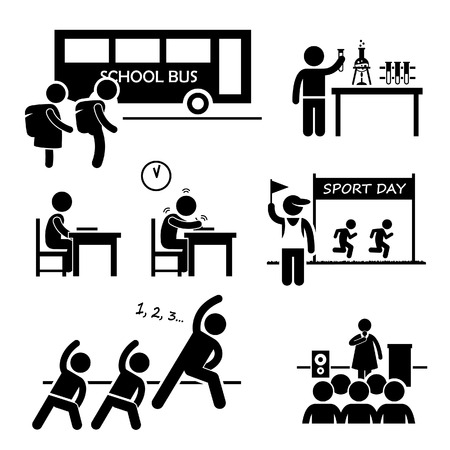 and activities: School Activity Event for Student Stick Figure Pictogram Icon Clipart