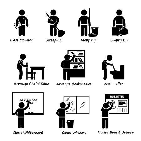 devoir: �tudiant en classe Duty Roster b�ton figure pictogramme Ic�ne Clipart Illustration