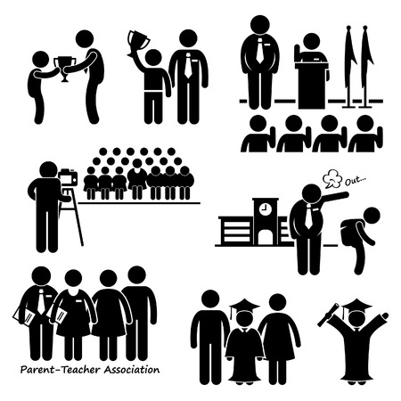 School Events - Award, Assembly Pledge, Photo Session, Expel, Parent Teacher Association Meeting, Student Graduation - Stick Figure Pictogram Icon Clipart Vector