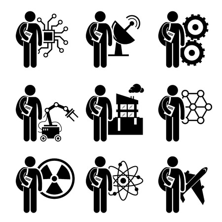 学生の学位工学 - 電気、機械、電気通信、ロボット、市民、ナノテクノロジー、原子力、化学、航空宇宙 - スティック図の絵文字アイコンのクリッ