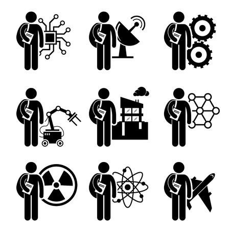 공학 학생도 - 전기, 기계, 통신, 로봇, 토목, 나노 기술, 원자력, 화학, 항공 우주 - 스틱 그림 픽토그램 아이콘 클립 아트