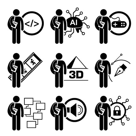 programme: Student Degree in Information Technology - Computer Science, AI, Games Design, Multimedia Animation, 3D, Graphic Designer, Security Management - Stick Figure Pictogram Icon Clipart Illustration