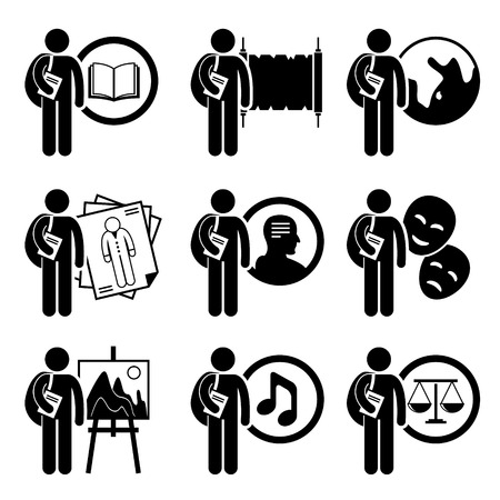 degrees: Student Degree in Arts and Humanities - Literature, History, Geography, Fashion Design, Philosophy, Acting, Painting, Music, Law - Stick Figure Pictogram Icon Clipart
