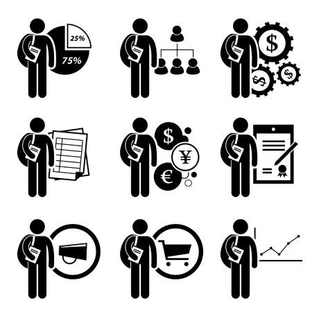 学生の学位ビジネス管理 - 分析、人材の育成、金融工学、会計、通貨、法律、マーケティング、商業、経済 - スティック図の絵文字アイコンのクリ  イラスト・ベクター素材