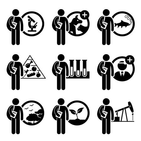 food research: Student Degree in Agriculture Science - Research, Veterinary, Fishery, Food, Biology, Doctorate, Environmental, Plant, Petroleum - Stick Figure Pictogram Icon Clipart Illustration