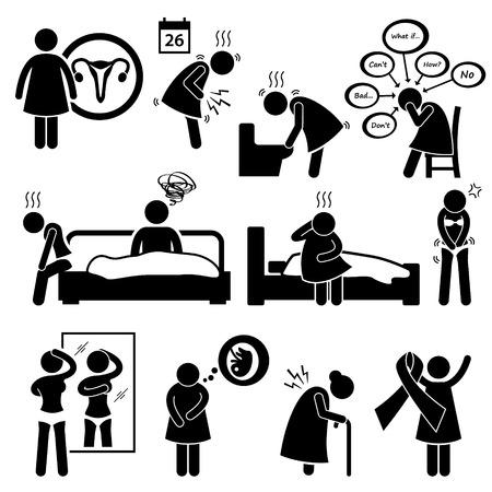 women breast: Woman Sickness Illness Diseases Stick Figure Pictogram Icon Cliparts Illustration