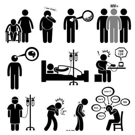chory: Mężczyzna powszechnych chorób i choroby Zdjęcia Stick Figure Piktogram Ikona Ilustracja