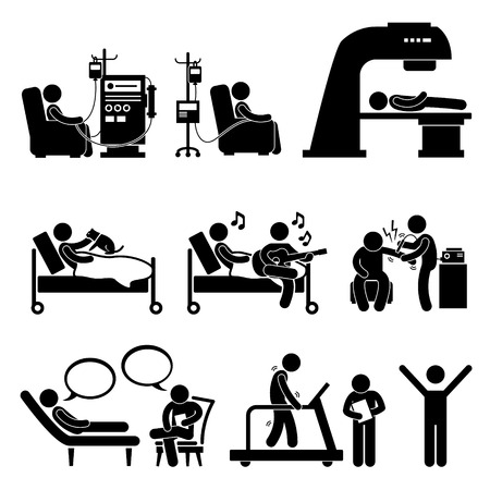 radiation therapy: Hospital Medical Therapy Treatment Stick Figure Pictogram Icon Cliparts