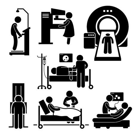 Hospital Medical Checkup Screening Diagnostik Diagnostische Strichmännchen-Icon-Piktogramm Cliparts
