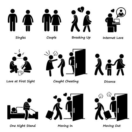 Paar Freund Freundin Liebes-Strichmännchen-Piktogramm Icon Cliparts Illustration