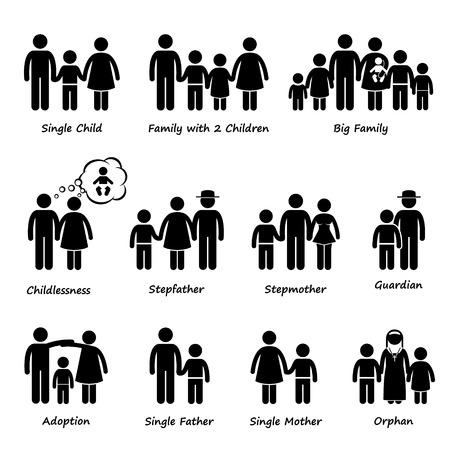 Familiengröße und Art der Beziehung Strichmännchen-Icon-Piktogramm Cliparts
