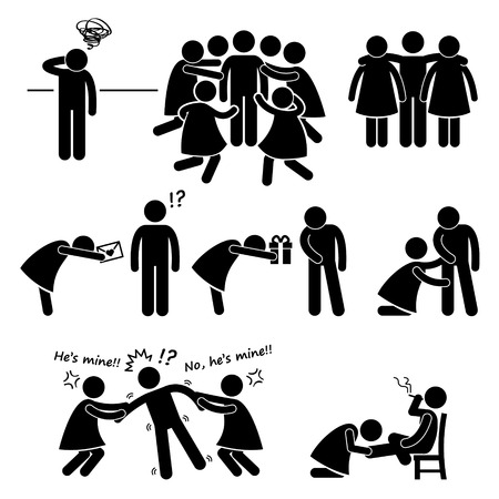 esclavo: Popular Casanova Womanizer Figura Stick Pictograma del icono Clip Art