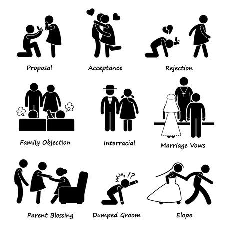 interracial: Amor Pareja Problema Matrimonio dificultad Figura Stick Pictograma del icono Clip Art Vectores