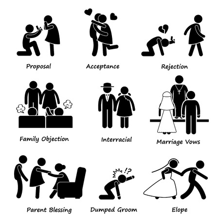 blocco stradale: Amore di coppia Problema Matrimonio difficolt� Stick Figure pittogrammi Icona Clipart Vettoriali