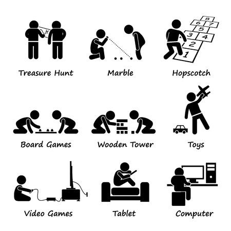 Děti hrající tradiční i moderní hry kreslené obrázky pod klíčovými