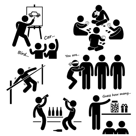 guessing: Recreational Games of Stick Figure Pictogram Icon Clip art