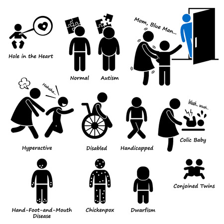 Health Sickness Syndrome Problem of Stick Figure Pictogram Icon Clip art