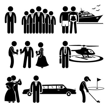 wealthy lifestyle: Rich persone Alta societ� costoso stile di vita libero Stick Figure pittogrammi Icona Clipart Vettoriali