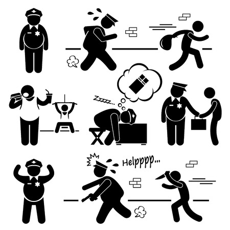 Big Fat Lazy Police Cop Stick Figure Pictogram Icon Cliparts Vector