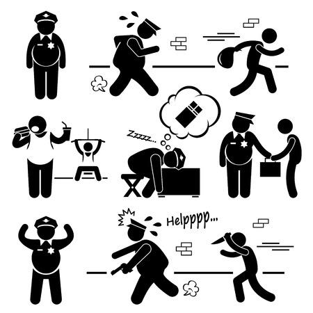 Big Fat Lazy Politie Cop Stick Figure Pictogram Icon Cliparts