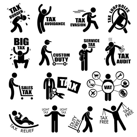 taxes: Impuesto a la Renta del contribuyente Concepto Figura Stick Pictograma del icono Clip Art Vectores