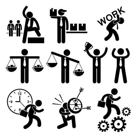 workload: Business People Businessman Concept Stick Figure Pictogram Icon Cliparts