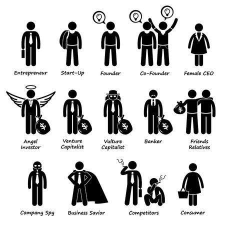 Business Entrepreneur Investors and Competitors Stick Figure Pictogram Icon Cliparts Vector