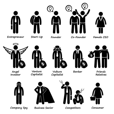 entrepreneur: Business Entrepreneur Investors and Competitors Stick Figure Pictogram Icon Cliparts