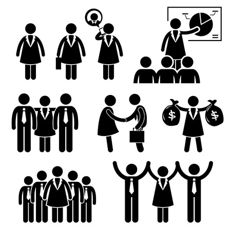 Businesswoman Female CEO Stick Figure Pictogram Icon Cliparts Иллюстрация