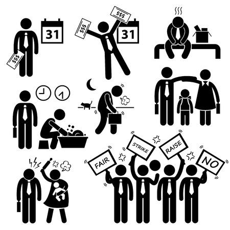 salarios: Empleado Ingresos Trabajador Salario problema financiero Figura Stick Pictograma del icono Clip Art Vectores