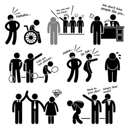 discriminacion: Discriminación racista Prejuicio sesgadas Figura Stick Pictograma del icono Clip Art Vectores