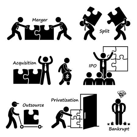 acquire: Corporate Company Business Concept Stick Figure Pictogram Icon Cliparts
