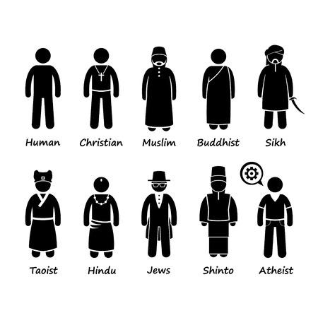 ethic: La religione delle persone nel mondo Stick Figure pittogrammi Icona Clipart