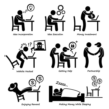 computer hacker: Internet Business Online Process Stick Figure Pictogram Icon Cliparts Illustration