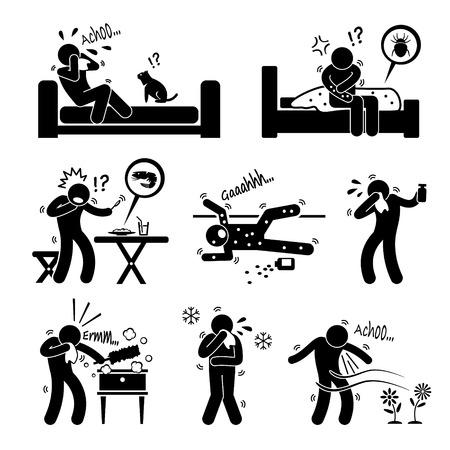 estornudo: Las reacciones de la alergia de la Alimentación Animal Medio Ambiente en humanos Figura Stick Pictograma del icono Clip Art Vectores
