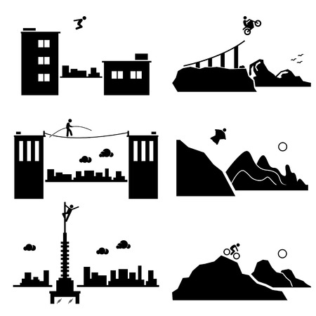 Extreme Sports - Parkour, Biking, Walking Wire, Wingsuit, Building Climber, Mountain Biking - Stick Figure Pictogram Icons Cliparts Vector