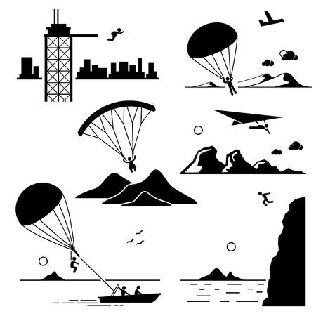 parapente: Deportes extremos - Base Jumping, paracaidismo, parapente, ala delta, paracaidismo, salto del acantilado - Figura del palillo de los pictogramas iconos Clip Art