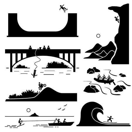 cliff: Extreme Sports - Skateboarding, Rock Climbing, Bungee Jumping, Motocross, White Water Rafting, Skurfing, Surfing - Stick Figure Pictogram Icons Cliparts