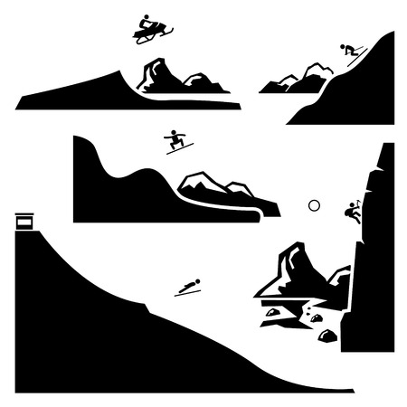 Extreme Sports - Snowmobiling, Skiing, Snowboarding, Ski Flying, Ice Climbing - Stick Figure Pictogram Icons Cliparts Vector
