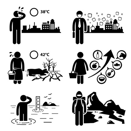 Global Warming Greenhouse Effects Stick Figure Pictogram Icons Cliparts Vector
