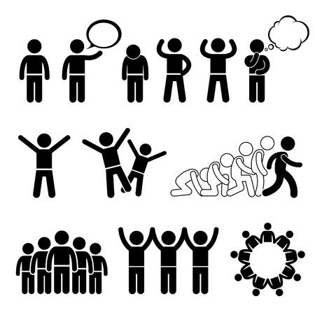 Children Action Pose Welfare Rights Chiffre de bâton pictogrammes Icône Images