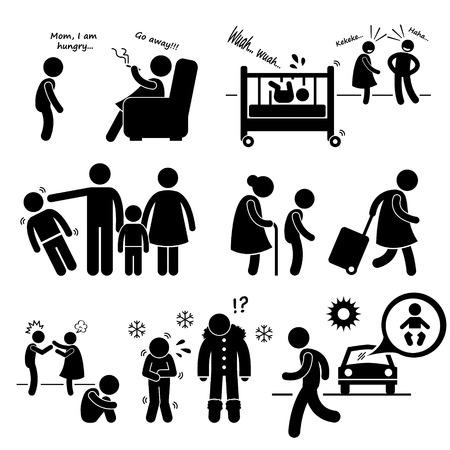 Vernachlässigte Kinder Fahrlässigkeit Missbrauch Strichmännchen-Icon-Piktogramm Cliparts