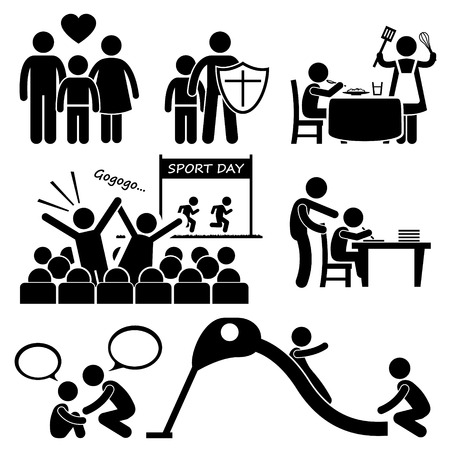 hearing protection: Children Needs Parent Love Supports Stick Figure Pictogram Icon Cliparts Illustration