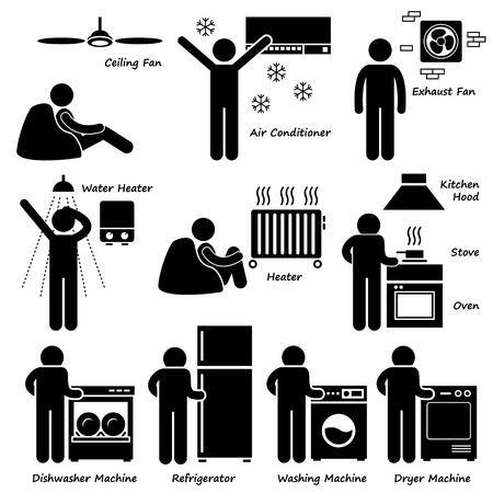 uso domestico: Elettrodomestici Casa Base elettronici Stick Figure pittogrammi Icona Clipart