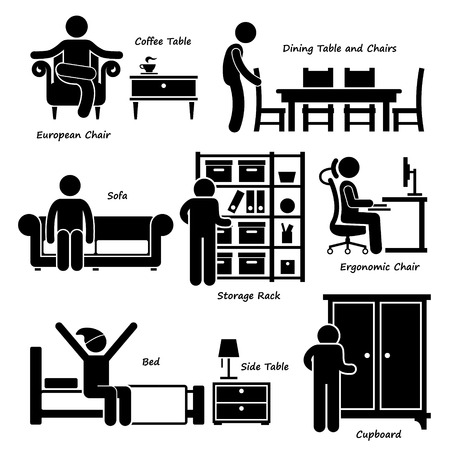 couch: Home House Furniture Stick Figure Pictogram Icon Cliparts