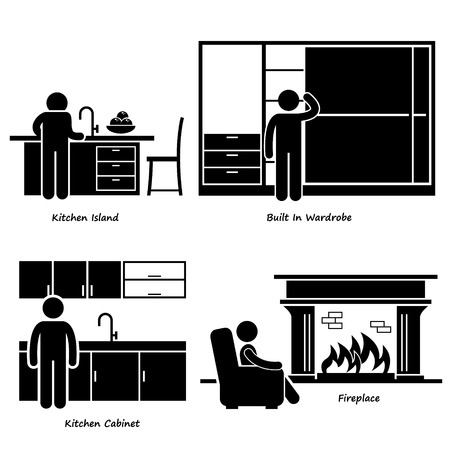 Home House Built-in Furniture Stick Figure Pictogram Icon Cliparts Vector