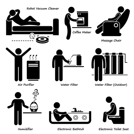 filtration: Home House Advanced Electronic Appliances Stick Figure Pictogram Icon Cliparts